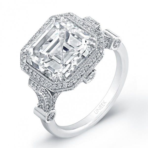 Uneek Estate-Inspired 5-Carat Asscher Diamond Engagement Ring, in Platinum