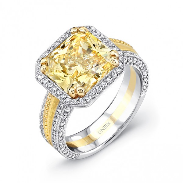 Uneek Natureal Yellow Radiant Diamond Engagement Ring LVS559