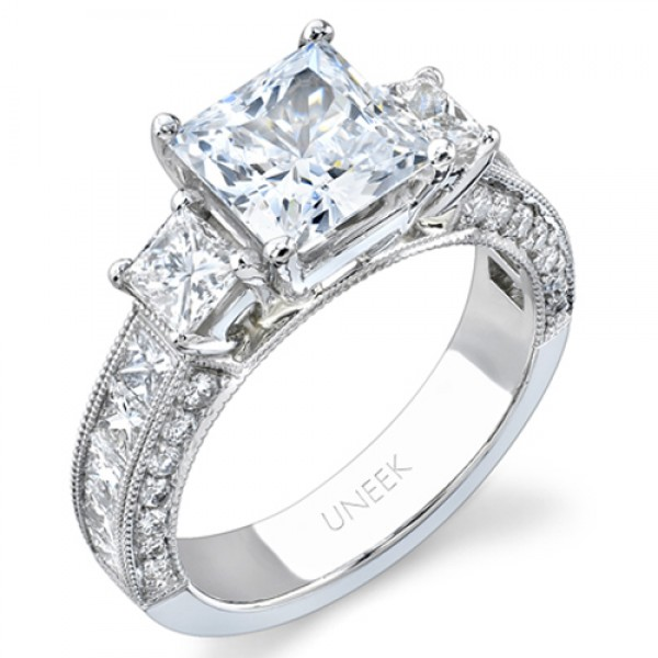 Uneek Platinum Princess-Cut Diamond Engagement Ring LVS581