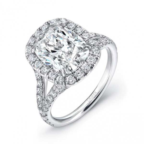 Uneek Elongated Cushion-Cut Diamond Halo Engagement Ring with Split Upper Shank, in Platinum