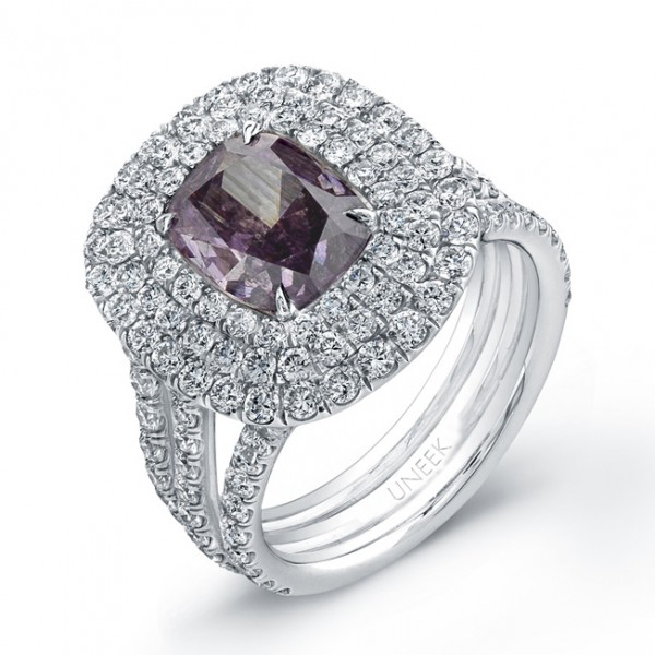 Natureal Collection Platinum Pink-Purple Cushion Diamond Ring LVS659