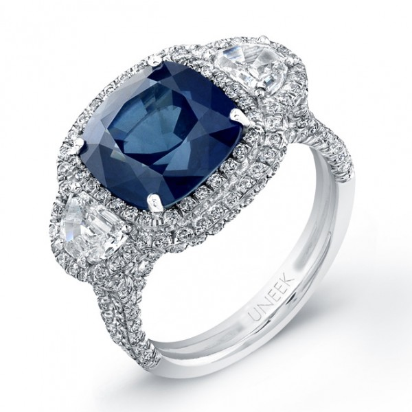 Platinum Blue Sapphire Cushion Diamond Ring LVS681