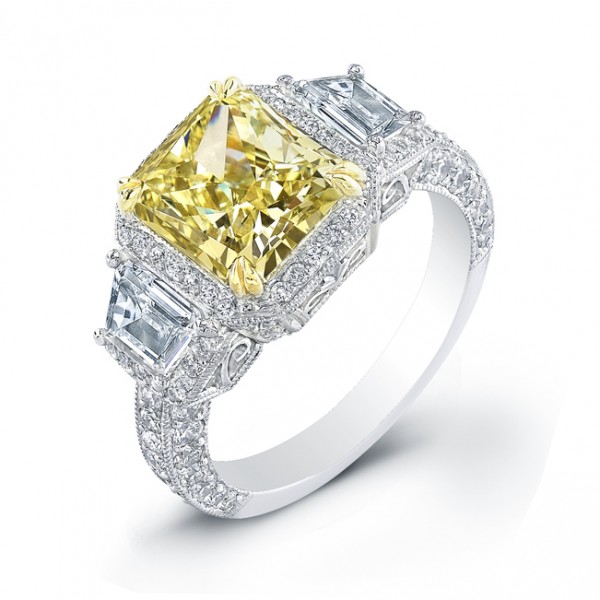 Uneek Natureal Yellow Radiant Diamond Engagement Ring LVS699