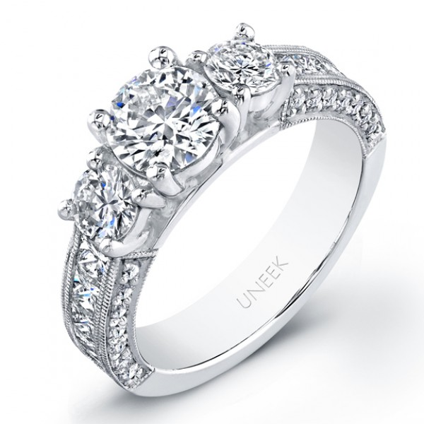 Three Stone Diamond Engagement Ring LVS709