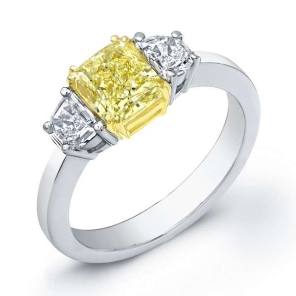 Uneek Natureal Yellow Radiant Diamond Engagement Ring LVS736