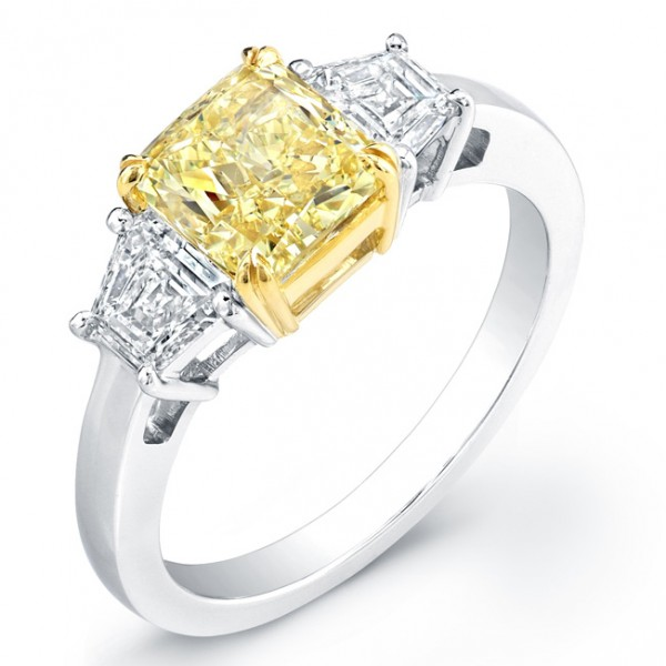 Uneek Natureal Yellow Cushion Diamond Engagement Ring LVS804