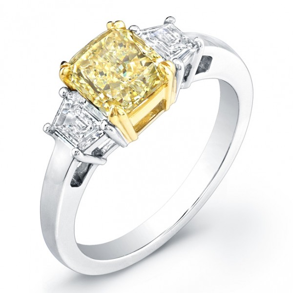 Uneek Natureal Yellow Cushion Diamond Engagement Ring LVS805