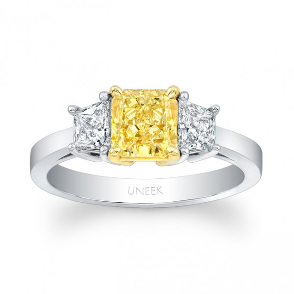 Uneek Natureal Fancy Yellow Radiant Diamond Engagement Ring LVS850