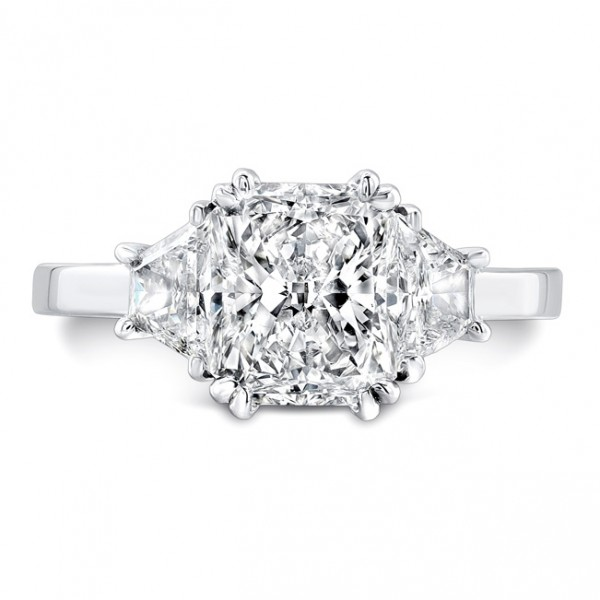 Uneek Three Stone Radiant Cut Diamond Engagement Ring-LVS861