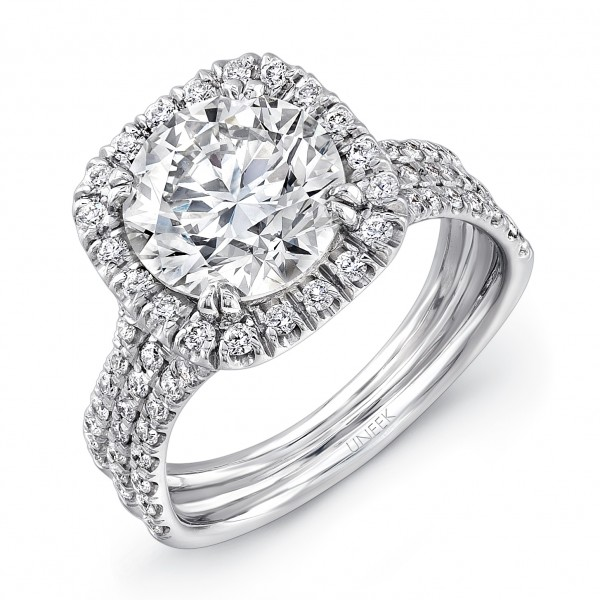 Uneek Round Diamond Engagement Ring with Cushion-Shaped Halo and Pave Triple Shank, in Platinum