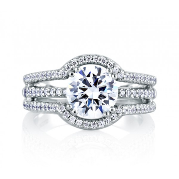Architectural Three Row Halo Engagement Ring