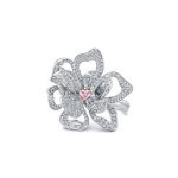 Magnolia Ring with a Pink Diamond