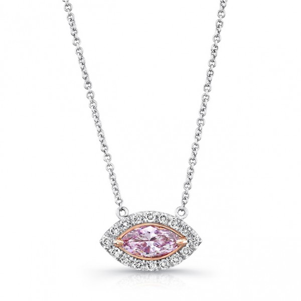 Uneek Marquise Pink Diamond Halo Pendant, in 18K White and Rose Gold