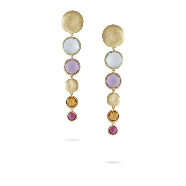 Jaipur 18K Yellow Gold Mixed Gemstone Graduated Drop Earrings with Pink Tourmaline