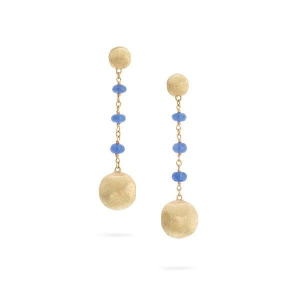 Africa 18K Yellow Gold and Sapphire Drop Earrings