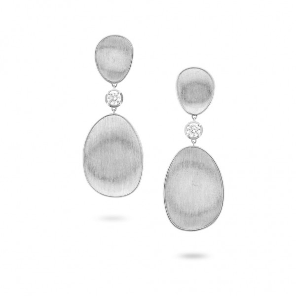 Lunaria 18K White Gold and Diamond Double Drop Earrings