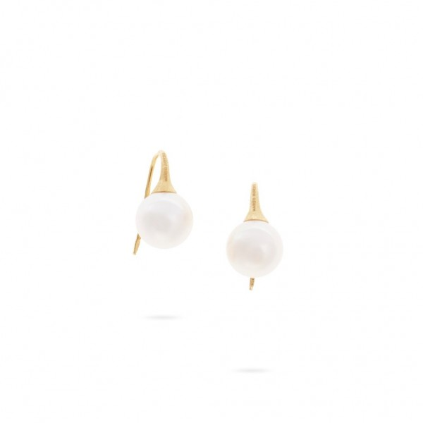 Africa Boules 18K Yellow Gold and Pearl French Wire Earrings