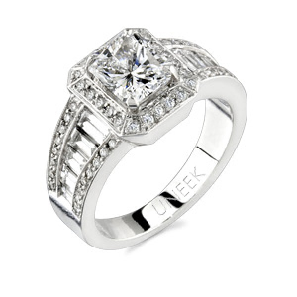 Uneek 18K White Gold Halo Diamond Engagement Ring SM472
