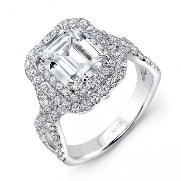 Uneek Emerald-Cut Diamond Pave Double Halo Engagement Ring with Ribbon-Style Shank, in 18K White Gol