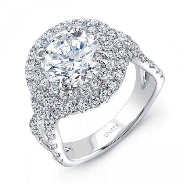Uneek Round Diamond Pave Double Halo Engagement Ring with Ribbon-Style Shank, in 18K White Gold