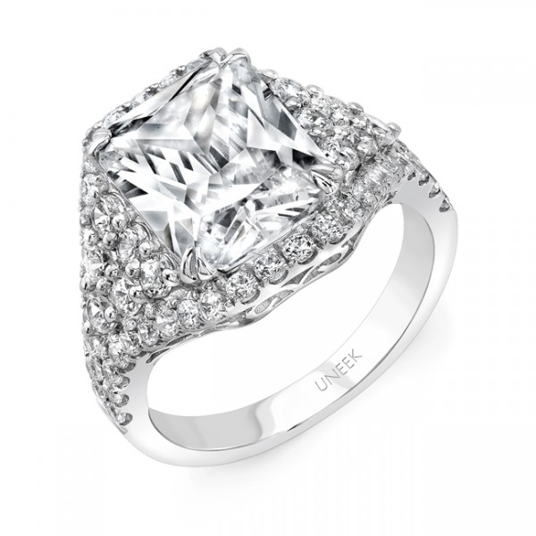 Uneek 4-Carat Radiant-Cut Diamond Three-Stone Illusion Engagement Ring with Trillion-Shaped Side Clu