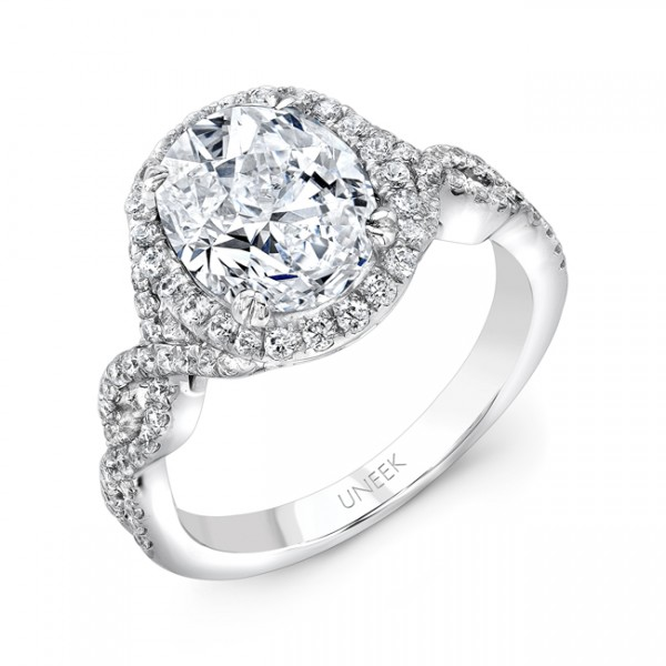 Uneek 3-Carat Oval Diamond Halo Engagement Ring with Delicate Ribbon-Like Crisscross Upper Shank, in