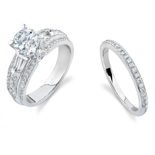 Bouquet Collection 18K White Gold Diamond Engagement Ring With Matching Band SW105