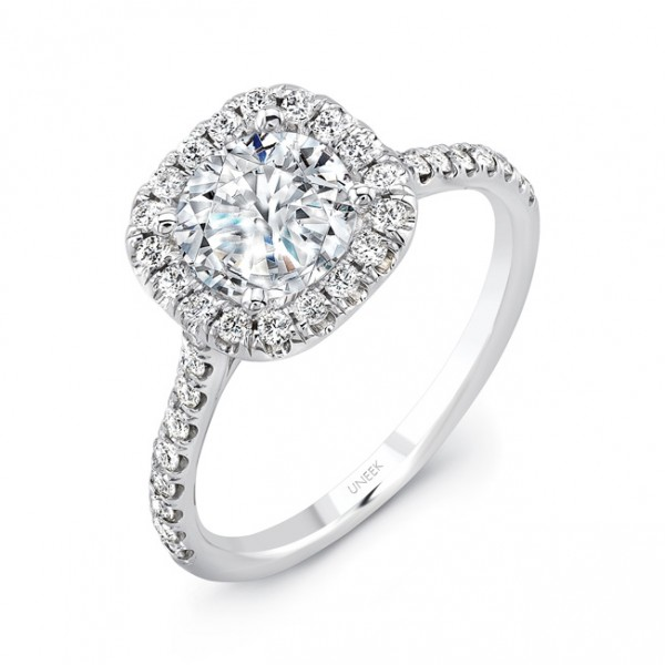 Uneek Classic Round-Diamond-on-Cushion-Halo Pave Engagement Ring, in 14K White Gold