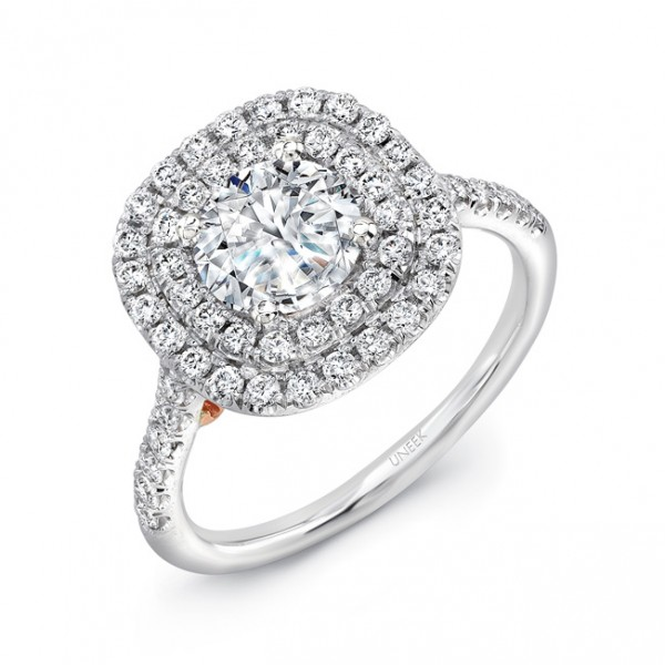 """Uneek """"Splendore"""" Vintage-Inspired Round Diamond Double Halo Engagement Ring in 14K White Gold, with"""