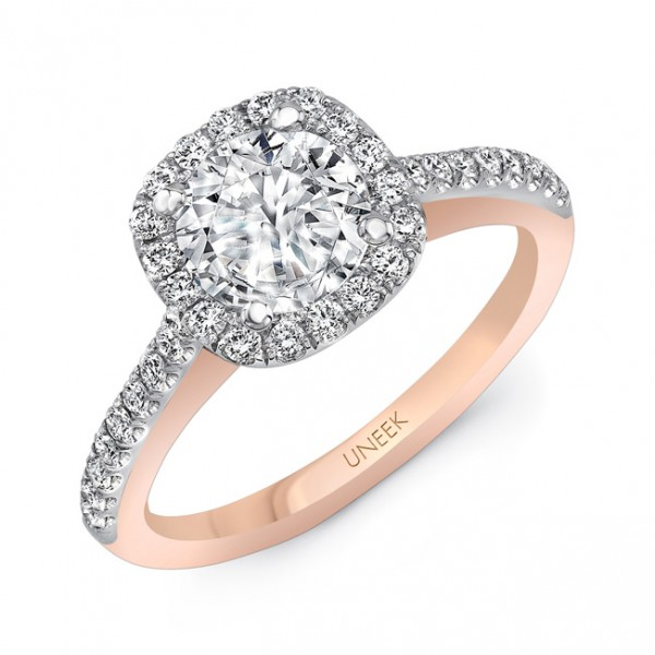 """Uneek """"Fontana"""" Vintage-Inspired Round-Diamond-on-Cushion-Halo Engagement Ring with Pave Upper Shank"""