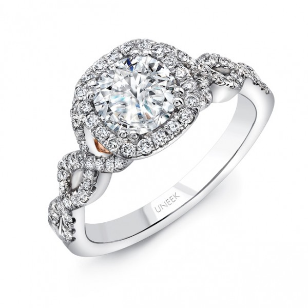 """Uneek """"Onda"""" Round Diamond Engagement Ring with Cushion Halo, Pave Double Crisscross Upper Shank and"""