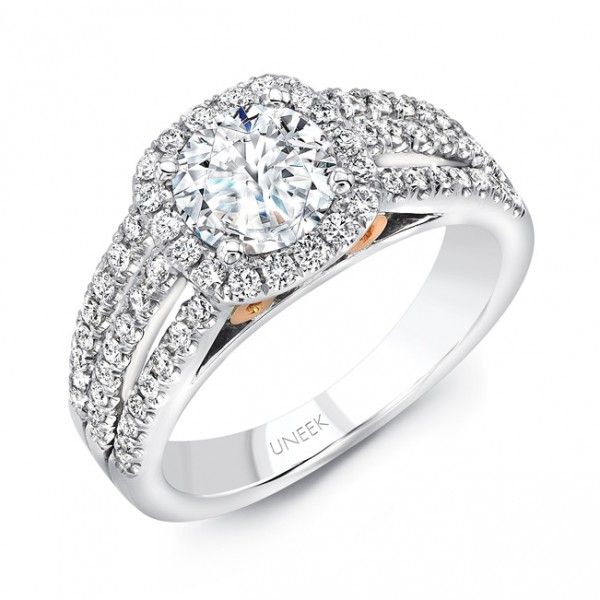 "Uneek ""Luminare"" Round-Diamond-on-Cushion-Halo Engagement Ring with Triple Split Shank and Scroll Fi"