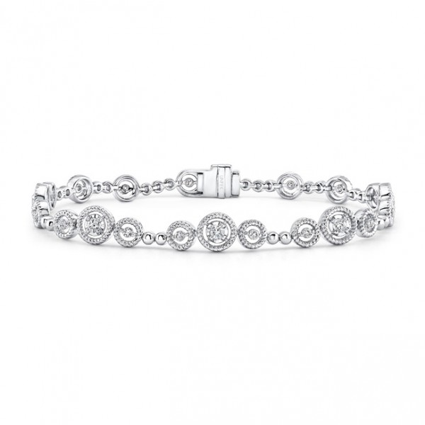 Uneek Mixed-Size Round Diamond Bracelet with Rope Milgrain Floating Halo Details, in 14K White Gold