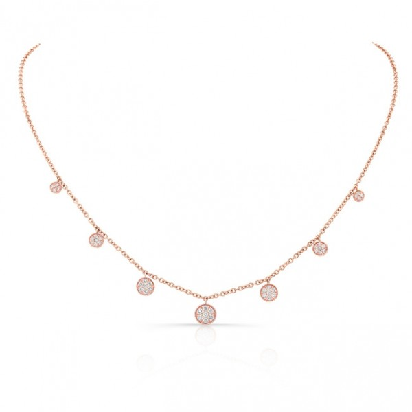 Uneek Cascade Collection Seven-Cluster Dangle Necklace, in 18K Rose Gold