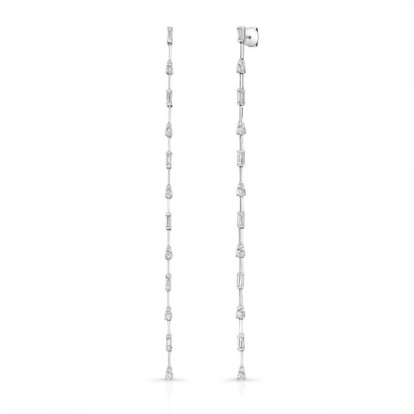 Uneek Cascade Collection Dangle Earrings with Tapered Baguette and Round Diamonds, in 18K White Gold