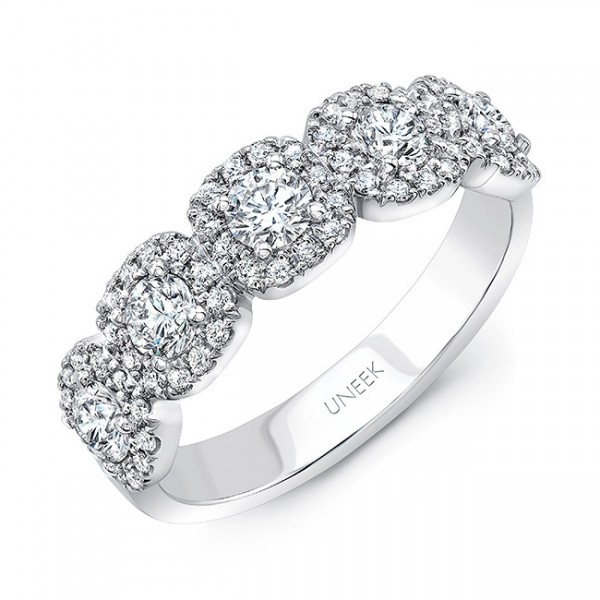 Uneek Diamond Band with Cushion-Shaped Halo Details, in 18K White Gold