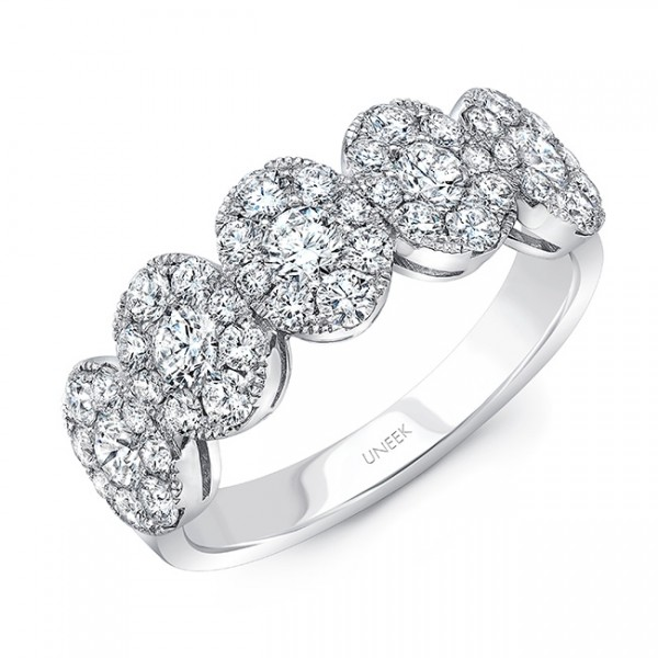 Uneek Round Diamond Band with Oval-Shaped Clusters, in 18K White Gold