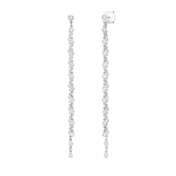 Uneek Cascade Collection Threader-Illusion Diamonds-by-the-Yard Dangle Earrings, in 18K White Gold
