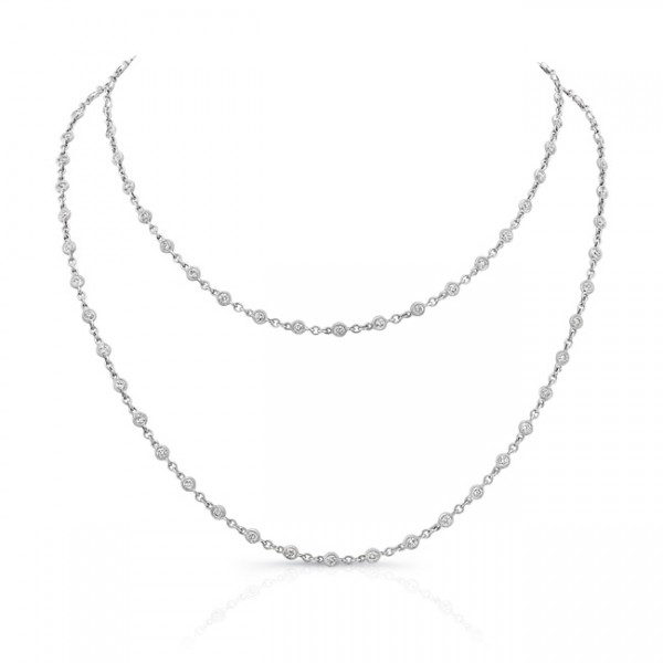 Uneek 32-Inch Diamonds-by-the-Yard Necklace in 18K White Gold
