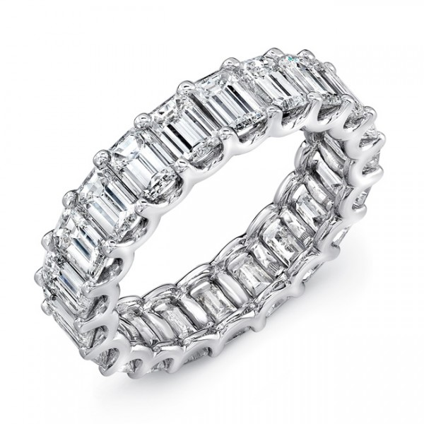 Uneek Emerald Cut Diamond Eternity Band, in Platinum