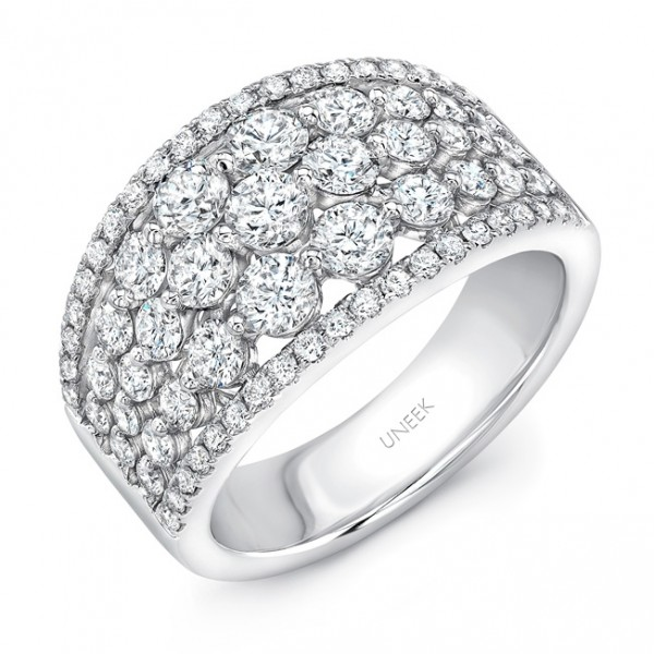 "Uneek ""Frivolité"" 5-Row Diamond Band with Pave Edges, in 14K White Gold"