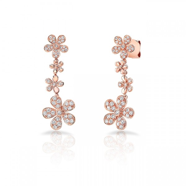 Uneek Cascade Collection Petite Floral Drop Earrings, in 18K Rose Gold