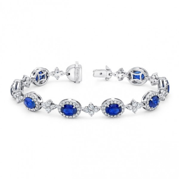 Uneek Oval Sapphire Bracelet with Floret-Shaped Diamond Cluster Links, in 18K White Gold