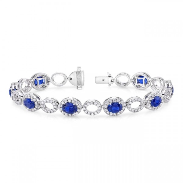 Uneek Oval Sapphire Bracelet with Diamond Halos, in 18K White Gold