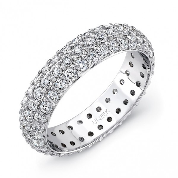 Uneek Three-Row Bombe-Style Eternity Band in 18K White Gold