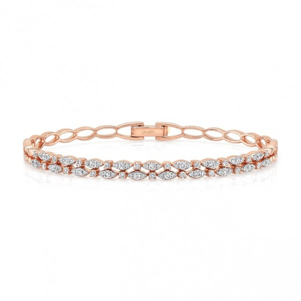 "Uneek ""Fairfax"" Two-Row Stackable Diamond Bangle Bracelet in 18K Rose Gold"