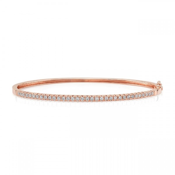 "Uneek ""Holloway"" Stackable Diamond Bangle in 14K Rose Gold"