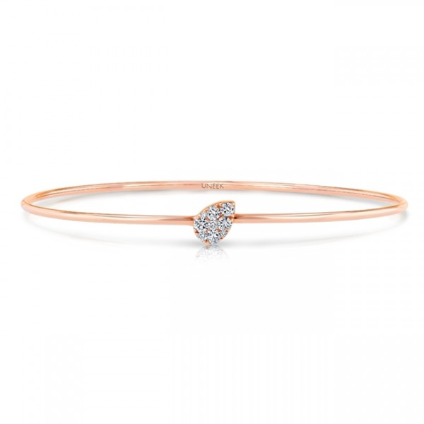 "Uneek ""Whittier"" Skinny Bangle with Tilted Teardrop-Shaped Clusters of Diamonds, in 14K Rose Gold"