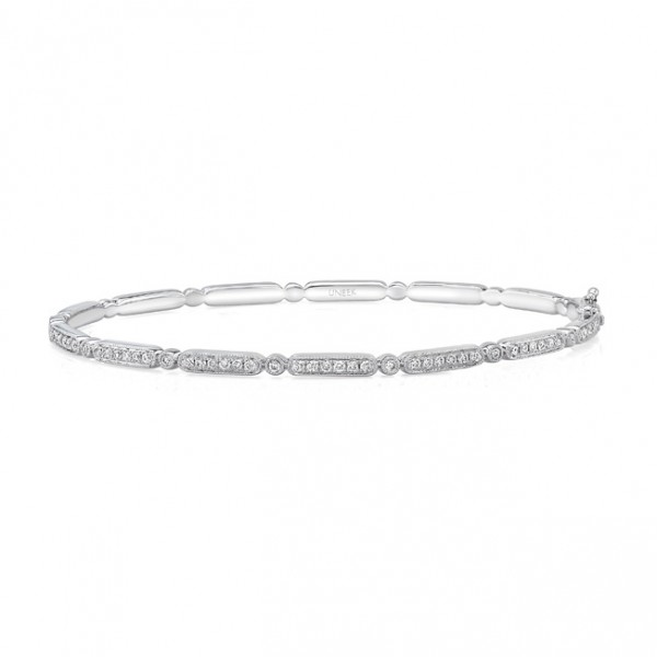 "Uneek ""Melrose"" Stackable Diamond Bangle in 14K White Gold"
