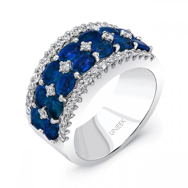 Uneek Two-Row Oval Blue Sapphire Band with Diamond Accents and Edging, in 18K White Gold